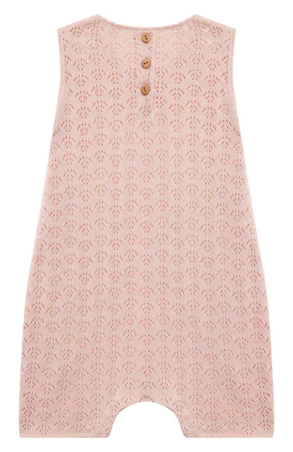Детское хлопковый комбинезон LES LUTINS PARIS розового цвета, арт. 21E057/INES   Фото 2
