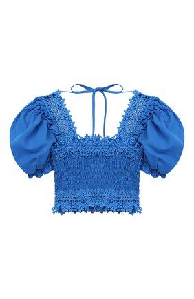Детский хлопковый топ CHARO RUIZ IBIZA голубого цвета, арт. 2110/4-8 | Фото 1 (Рукава: Короткие; Материал внешний: Хлопок; Девочки Кросс-КТ: топ-одежда; Ростовка одежда: 4 года | 104 см, 6 лет | 116 см, 8 лет | 128 см)