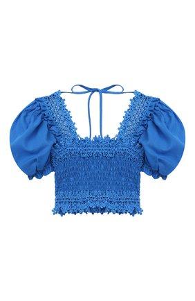 Детский хлопковый топ CHARO RUIZ IBIZA голубого цвета, арт. 2110/4-8 | Фото 2 (Рукава: Короткие; Материал внешний: Хлопок; Девочки Кросс-КТ: топ-одежда; Ростовка одежда: 4 года | 104 см, 6 лет | 116 см, 8 лет | 128 см)