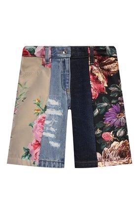 Детские джинсовые шорты DOLCE & GABBANA разноцветного цвета, арт. L52F25/G7YPQ/2-6   Фото 1 (Девочки Кросс-КТ: Шорты-одежда; Материал внешний: Хлопок, Синтетический материал; Материал подклада: Вискоза; Ростовка одежда: 2 года   92 см, 3 года   98 см, 4 года   104 см, 5 лет   110 см, 6 лет   116 см)