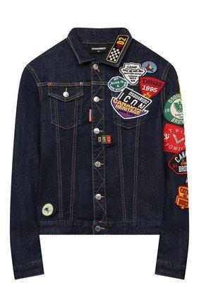 Детского джинсовая куртка DSQUARED2 синего цвета, арт. DQ0341-D006L | Фото 1