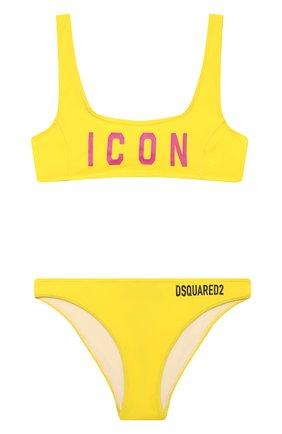Детского раздельный купальник DSQUARED2 желтого цвета, арт. DQ0275-D000V | Фото 1