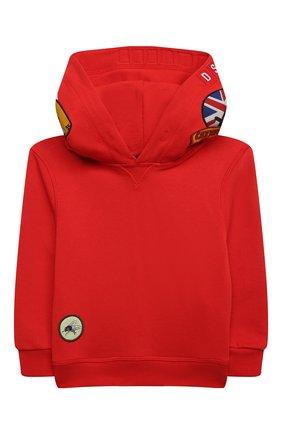 Детский хлопковое худи DSQUARED2 красного цвета, арт. DQ0335-D003G | Фото 1