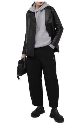 Женский кашемировое худи LOEWE серого цвета, арт. S540Y14K42 | Фото 2 (Материал внешний: Кашемир, Шерсть; Длина (для топов): Удлиненные; Рукава: Длинные; Стили: Спорт-шик; Женское Кросс-КТ: Худи-одежда)