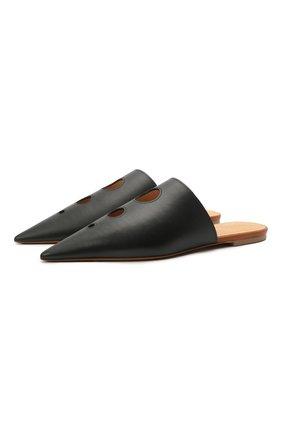 Женские кожаные сабо LOEWE черного цвета, арт. L814291X03   Фото 1 (Подошва: Плоская; Материал внутренний: Натуральная кожа; Каблук высота: Низкий; Каблук тип: Устойчивый)