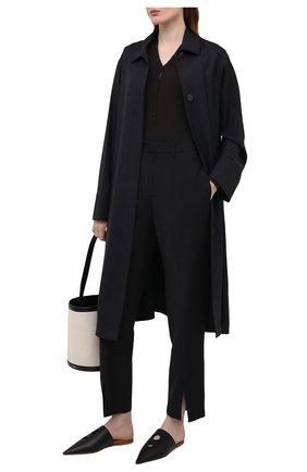 Женские кожаные сабо LOEWE черного цвета, арт. L814291X03   Фото 2 (Подошва: Плоская; Материал внутренний: Натуральная кожа; Каблук высота: Низкий; Каблук тип: Устойчивый)