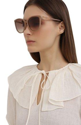 Женские солнцезащитные очки JIMMY CHOO темно-бежевого цвета, арт. RAYE/G/SK 22C | Фото 2