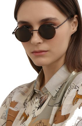 Женские солнцезащитные очки MYKITA коричневого цвета, арт. EETU/M0CCA/ZANZIBAR/RAWGREEN S0LID 856 | Фото 2 (Оптика Гендер: оптика-унисекс; Тип очков: С/з; Очки форма: Круглые)