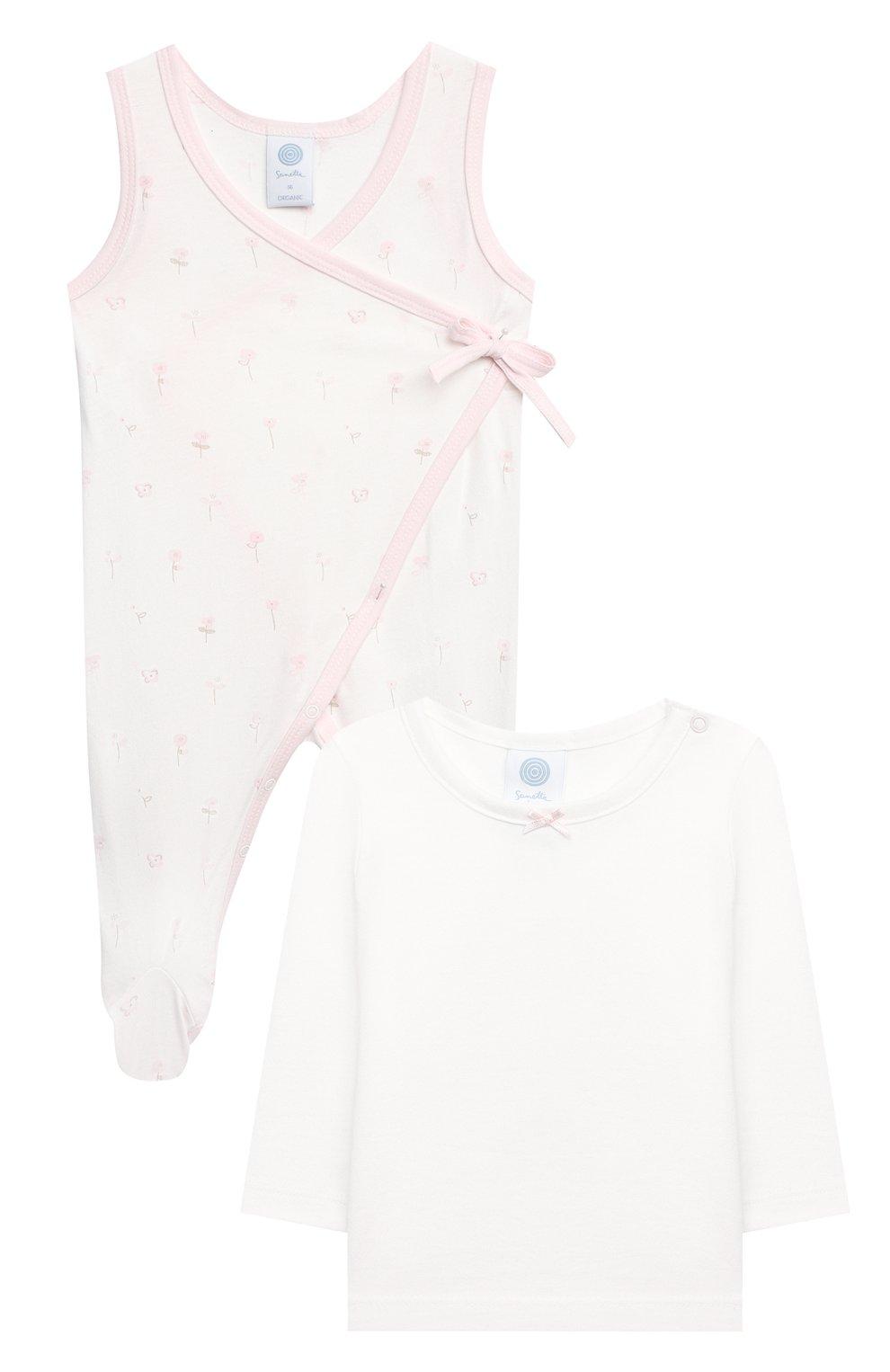 Детский комплект из комбинезона и лонгслива SANETTA светло-розового цвета, арт. 221630 | Фото 1