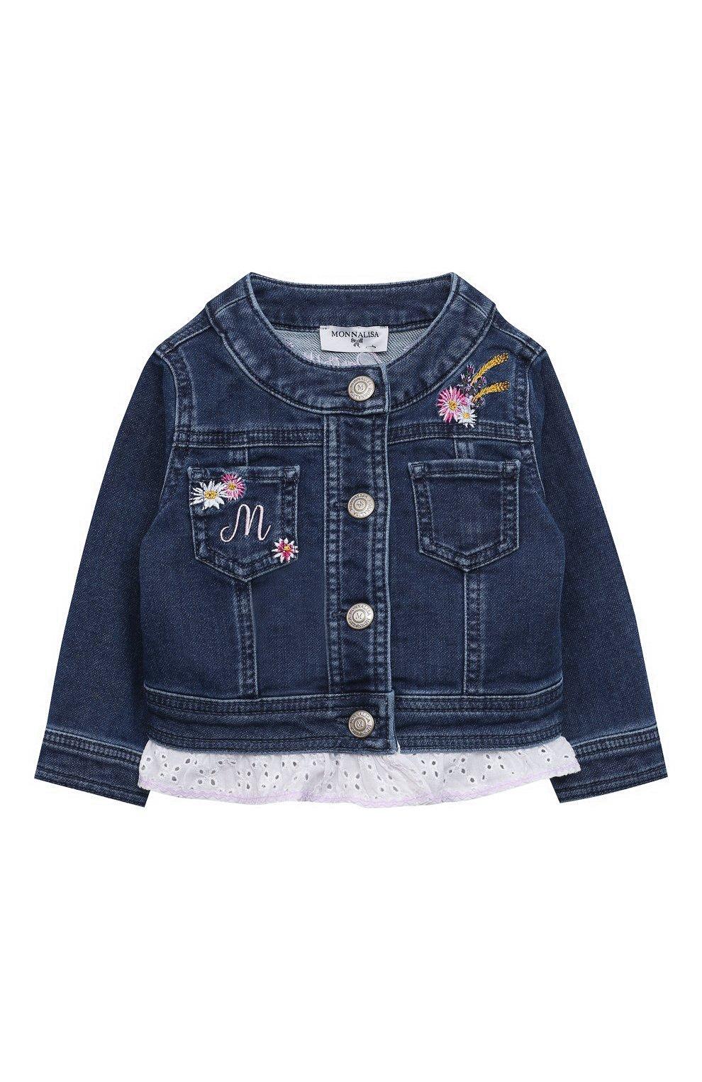 Детского джинсовая куртка MONNALISA синего цвета, арт. 397104RE. | Фото 1