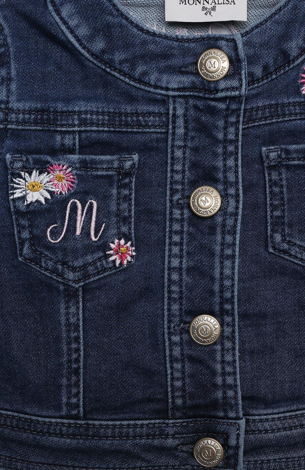 Детского джинсовая куртка MONNALISA синего цвета, арт. 397104RE. | Фото 3