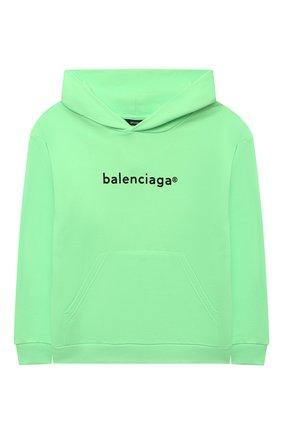Детский хлопковое худи BALENCIAGA зеленого цвета, арт. 558143/TJVM2   Фото 1