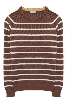 Детский хлопковый пуловер BRUNELLO CUCINELLI коричневого цвета, арт. B29M11600C | Фото 1