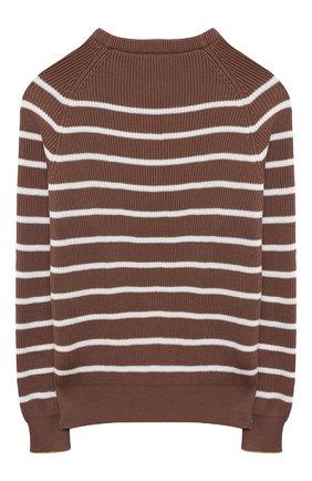 Детский хлопковый пуловер BRUNELLO CUCINELLI коричневого цвета, арт. B29M11600C | Фото 2