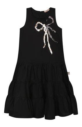 Детское хлопковое платье N21 черного цвета, арт. N21068/N0015/N21D41F | Фото 1