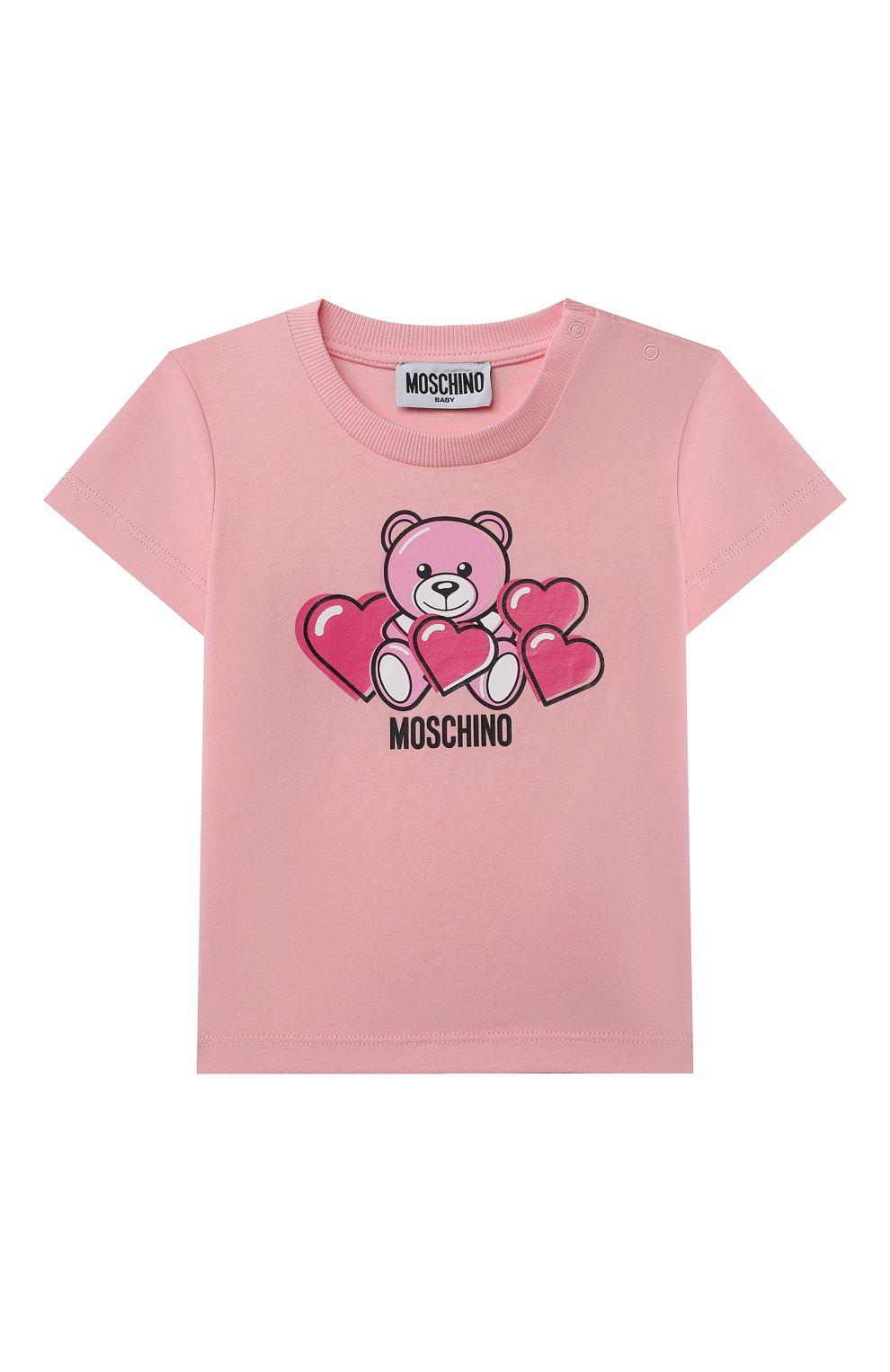 Детский хлопковая футболка MOSCHINO розового цвета, арт. MXM02A/LAA03 | Фото 1