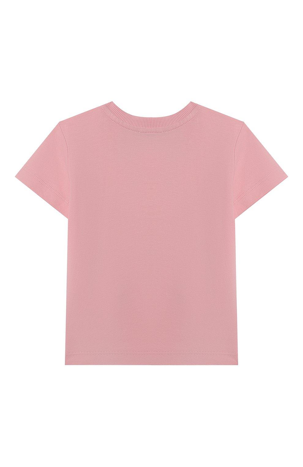 Детский хлопковая футболка MOSCHINO розового цвета, арт. MXM02A/LAA03 | Фото 2