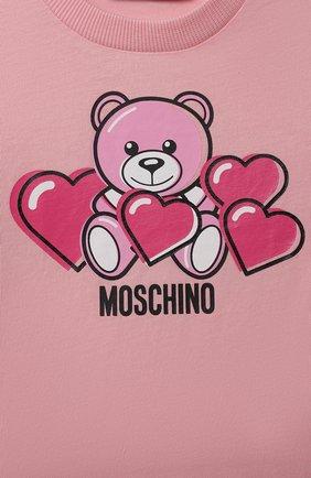 Детский хлопковая футболка MOSCHINO розового цвета, арт. MXM02A/LAA03 | Фото 3