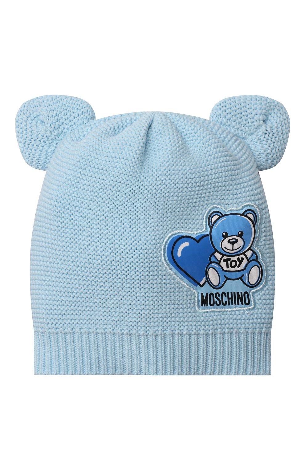 Детского хлопковая шапка MOSCHINO голубого цвета, арт. MUX03F/LHE13 | Фото 1