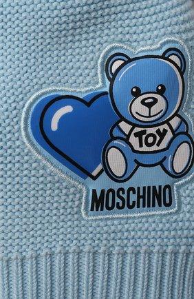 Детского хлопковая шапка MOSCHINO голубого цвета, арт. MUX03F/LHE13 | Фото 3