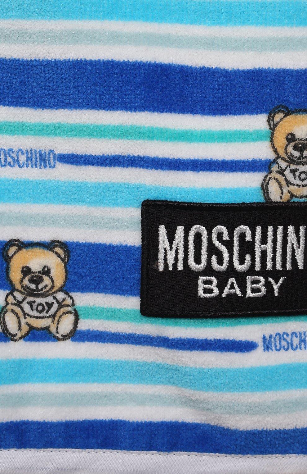 Детского хлопковое полотенце-пончо MOSCHINO синего цвета, арт. MUX03E/LGA10 | Фото 3