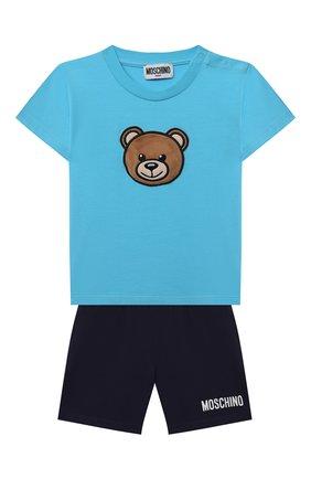 Детский комплект из футболки и шорт MOSCHINO голубого цвета, арт. MUG008/LBA18 | Фото 1