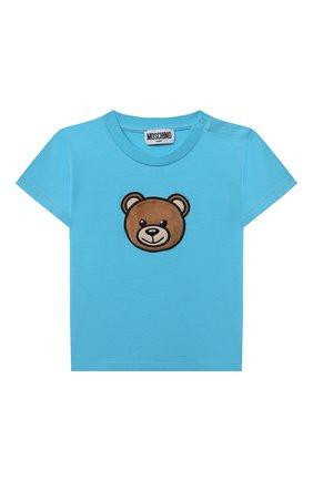 Детский комплект из футболки и шорт MOSCHINO голубого цвета, арт. MUG008/LBA18 | Фото 2