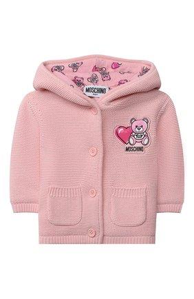 Детский хлопковый кардиган MOSCHINO розового цвета, арт. MUA002/LHE13 | Фото 1 (Материал внешний: Хлопок; Материал подклада: Хлопок; Рукава: Длинные; Ростовка одежда: 0 - 3 мес | 50 - 60 см)