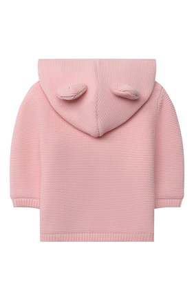 Детский хлопковый кардиган MOSCHINO розового цвета, арт. MUA002/LHE13 | Фото 2 (Материал внешний: Хлопок; Материал подклада: Хлопок; Рукава: Длинные; Ростовка одежда: 0 - 3 мес | 50 - 60 см)