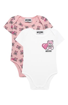 Детское комплект из двух боди MOSCHINO розового цвета, арт. MRY017/LAB22 | Фото 1 (Материал внешний: Хлопок; Рукава: Короткие; Ростовка одежда: 0 - 3 мес | 50 - 60 см, 3 мес | 62 см, 6 мес | 68 см)