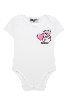 Детское комплект из двух боди MOSCHINO розового цвета, арт. MRY017/LAB22 | Фото 2 (Материал внешний: Хлопок; Рукава: Короткие; Ростовка одежда: 0 - 3 мес | 50 - 60 см, 3 мес | 62 см, 6 мес | 68 см)