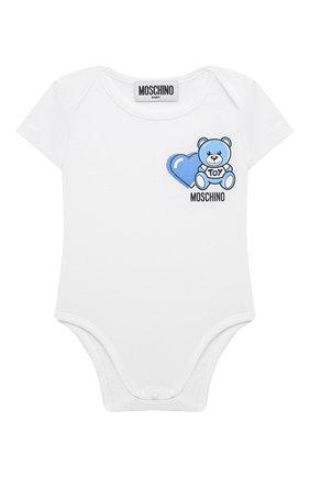 Детское комплект из двух боди MOSCHINO голубого цвета, арт. MRY017/LAB22 | Фото 2 (Рукава: Короткие; Материал внешний: Хлопок; Ростовка одежда: 0 - 3 мес | 50 - 60 см, 3 мес | 62 см, 6 мес | 68 см)