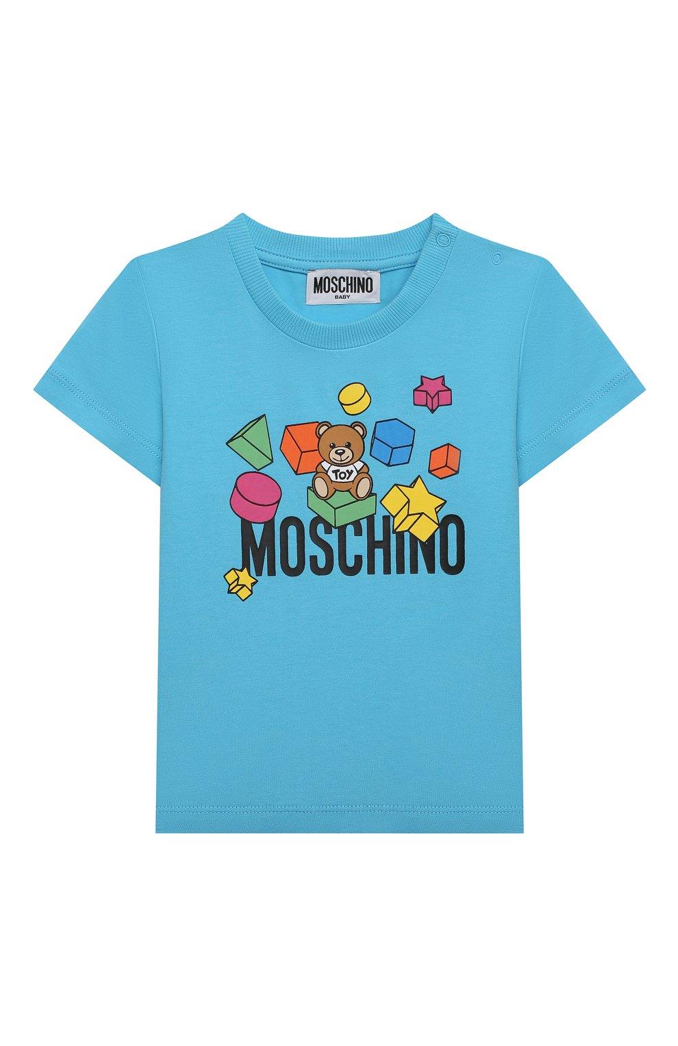 Детский хлопковая футболка MOSCHINO голубого цвета, арт. MRM02A/LBA08 | Фото 1