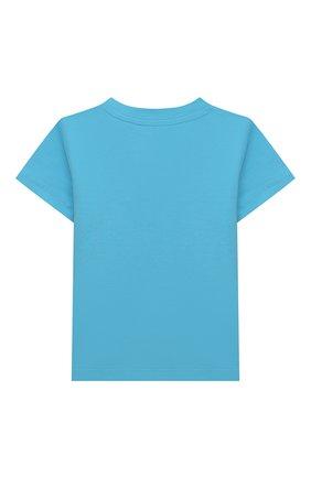 Детский хлопковая футболка MOSCHINO голубого цвета, арт. MRM02A/LBA08 | Фото 2