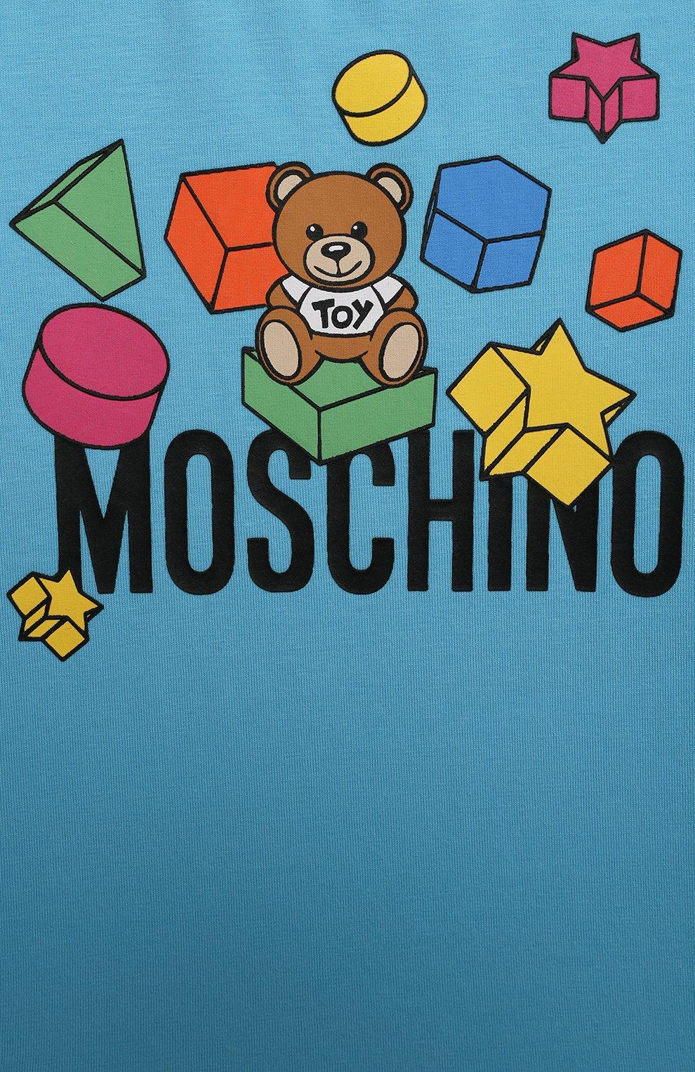 Детский хлопковая футболка MOSCHINO голубого цвета, арт. MRM02A/LBA08 | Фото 3