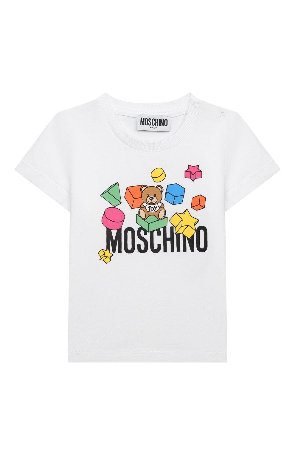 Детский хлопковая футболка MOSCHINO белого цвета, арт. MRM02A/LBA08   Фото 1