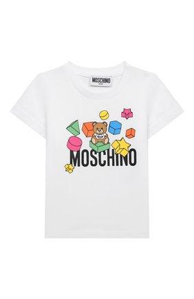 Детский хлопковая футболка MOSCHINO белого цвета, арт. MRM02A/LBA08 | Фото 1