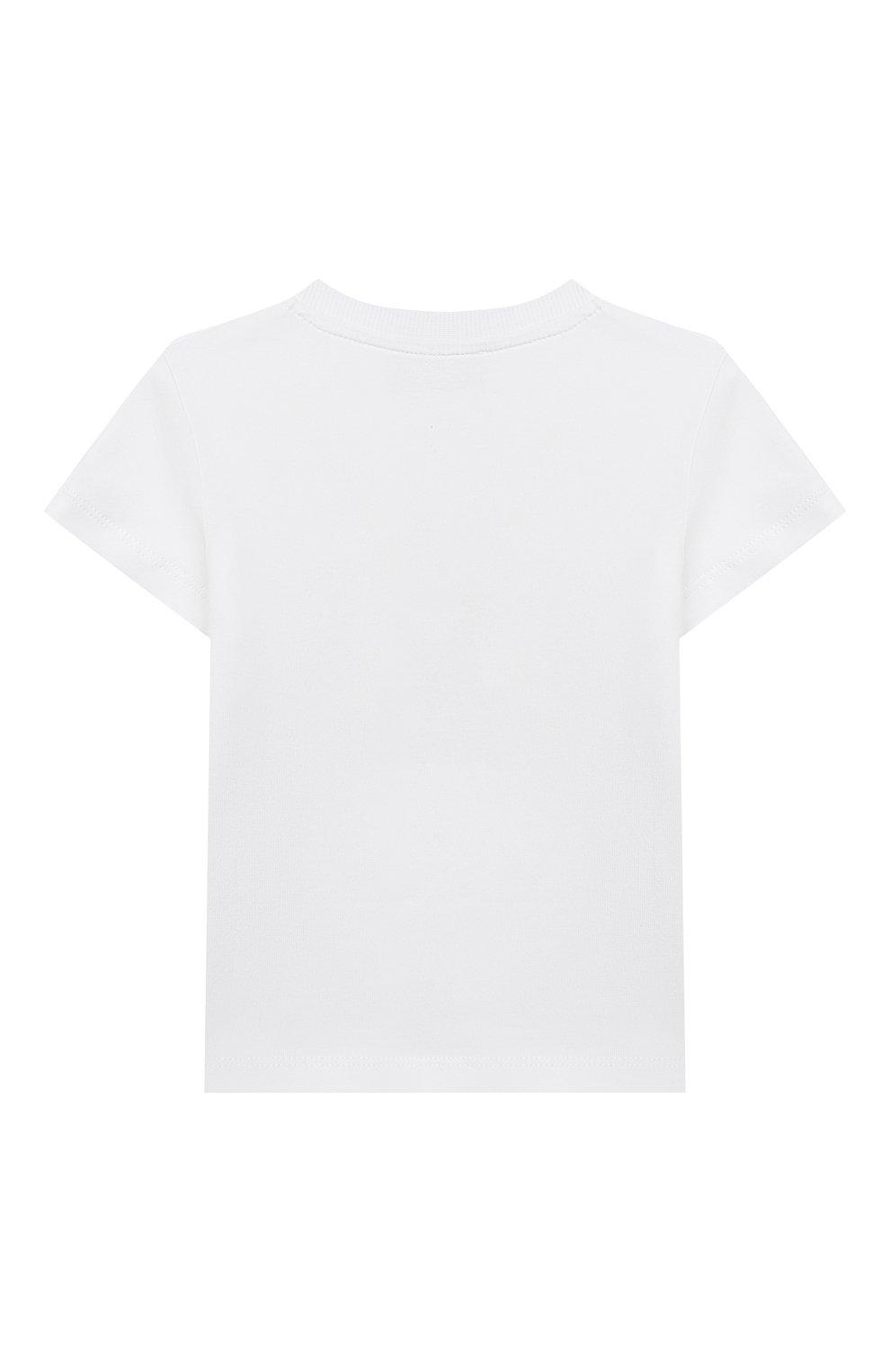 Детский хлопковая футболка MOSCHINO белого цвета, арт. MRM02A/LBA08   Фото 2