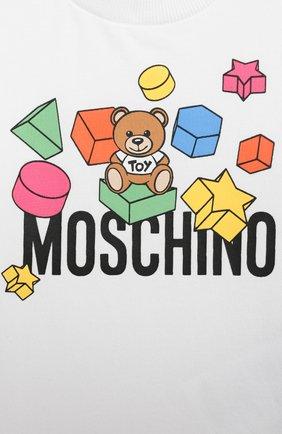 Детский хлопковая футболка MOSCHINO белого цвета, арт. MRM02A/LBA08   Фото 3