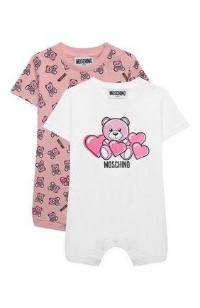 Детское комплект из двух комбинезонов MOSCHINO розового цвета, арт. MMY02P/LAB22 | Фото 1 (Материал внешний: Хлопок; Рукава: Короткие; Ростовка одежда: 0 - 3 мес | 50 - 60 см, 12 мес | 80 см, 3 мес | 62 см, 6 мес | 68 см, 9 мес | 74 см)