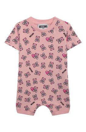 Детское комплект из двух комбинезонов MOSCHINO розового цвета, арт. MMY02P/LAB22 | Фото 2 (Материал внешний: Хлопок; Рукава: Короткие; Ростовка одежда: 0 - 3 мес | 50 - 60 см, 12 мес | 80 см, 3 мес | 62 см, 6 мес | 68 см, 9 мес | 74 см)