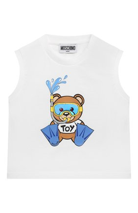 Детского комплект из майки и шорт MOSCHINO голубого цвета, арт. MMG001/LBA08 | Фото 2