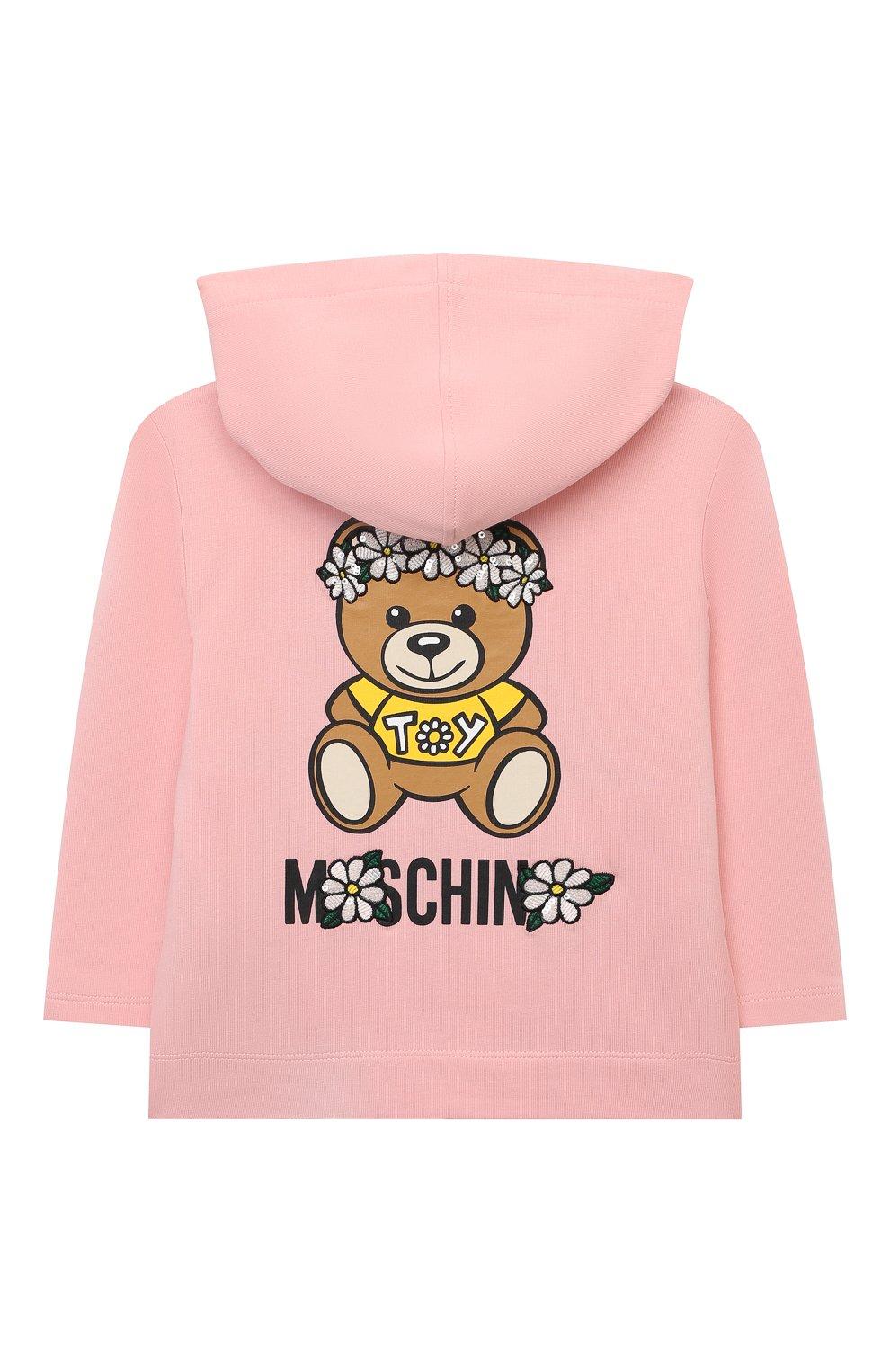 Детский хлопковая толстовка MOSCHINO розового цвета, арт. MDF027/LDA00 | Фото 2 (Рукава: Длинные; Материал внешний: Хлопок; Ростовка одежда: 12 мес | 80 см, 18 мес | 86 см, 24 мес | 92 см, 36 мес | 98 см)