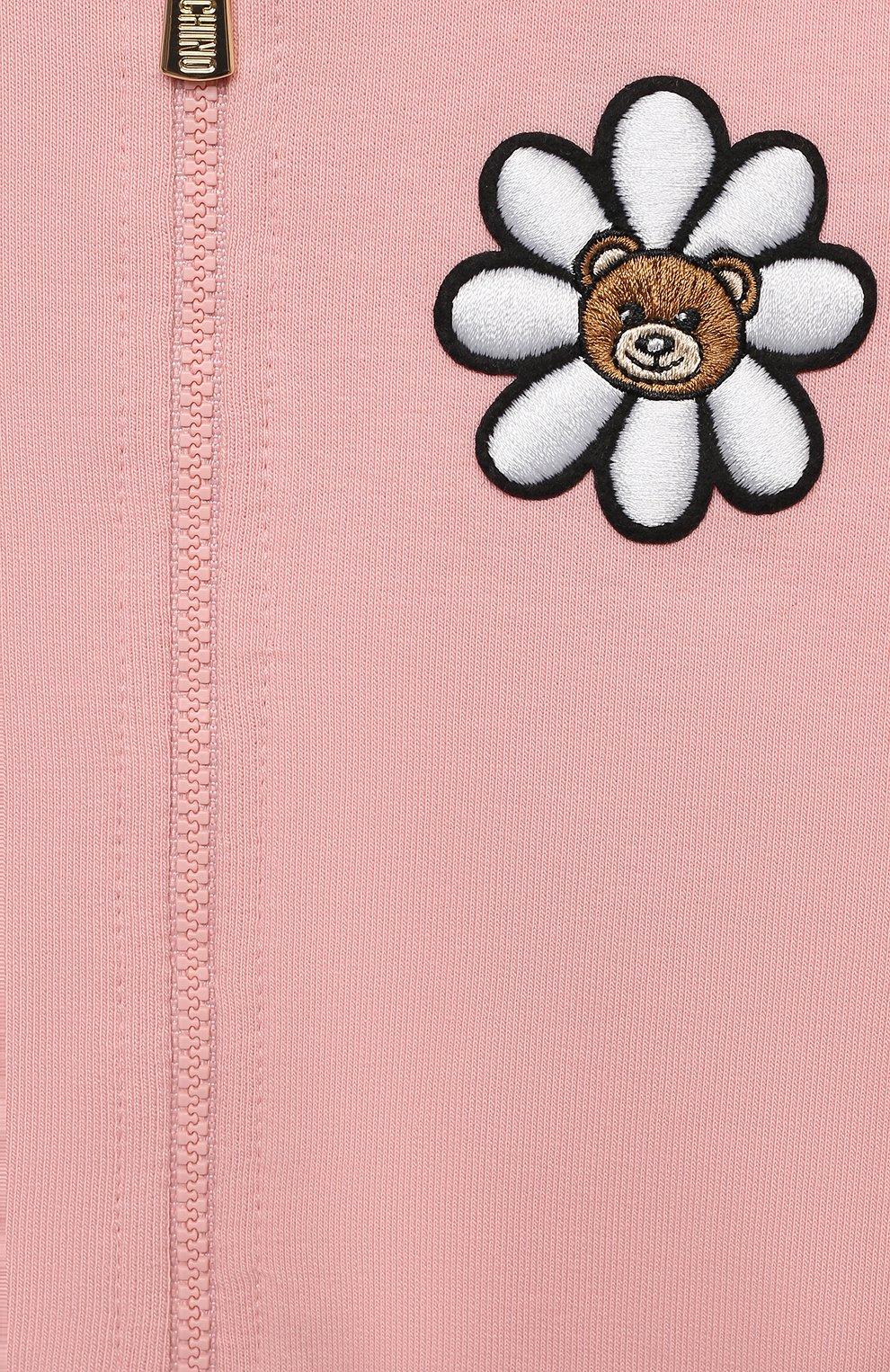 Детский хлопковая толстовка MOSCHINO розового цвета, арт. MDF027/LDA00 | Фото 3 (Рукава: Длинные; Материал внешний: Хлопок; Ростовка одежда: 12 мес | 80 см, 18 мес | 86 см, 24 мес | 92 см, 36 мес | 98 см)