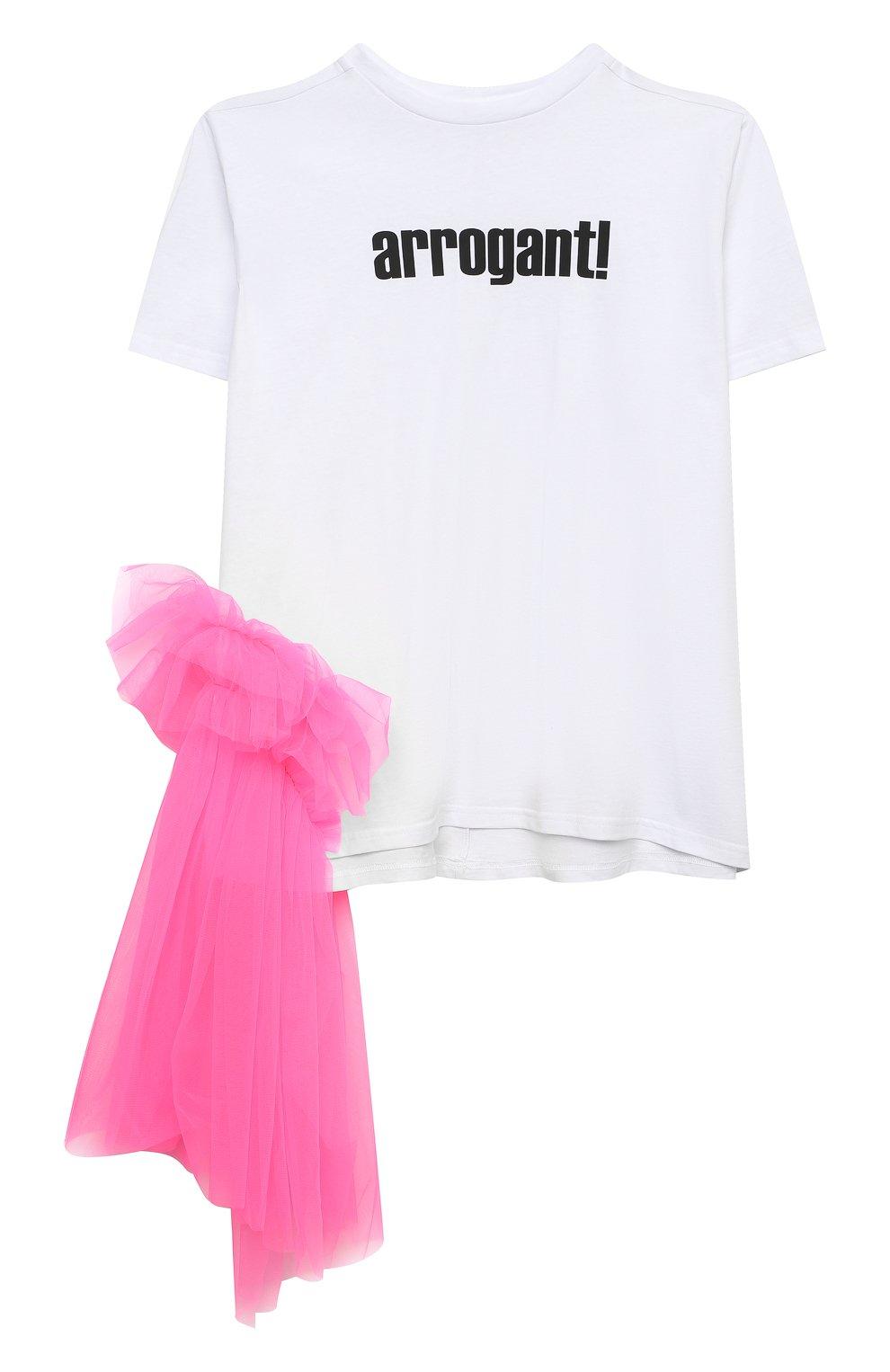 Детское платье-футболка SCRAMBLED_EGO белого цвета, арт. 12025   Фото 1 (Рукава: Короткие; Материал внешний: Хлопок; Девочки Кросс-КТ: Платье-одежда; Ростовка одежда: 13 - 15 лет   158 см, 10 - 11 лет   140 - 146см, 6 лет   116 см)
