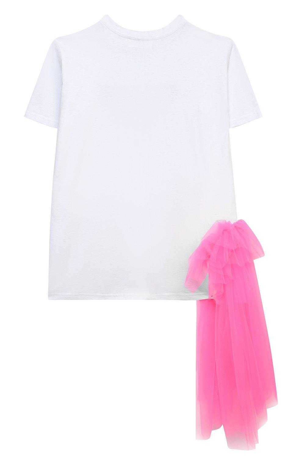 Детское платье-футболка SCRAMBLED_EGO белого цвета, арт. 12025   Фото 2 (Рукава: Короткие; Материал внешний: Хлопок; Девочки Кросс-КТ: Платье-одежда; Ростовка одежда: 13 - 15 лет   158 см, 10 - 11 лет   140 - 146см, 6 лет   116 см)