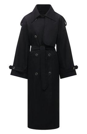 Женский тренч LESYANEBO черного цвета, арт. SS21/Н-465_1 | Фото 1 (Длина (верхняя одежда): Длинные; Рукава: Длинные; Материал внешний: Синтетический материал, Хлопок; Стили: Кэжуэл)