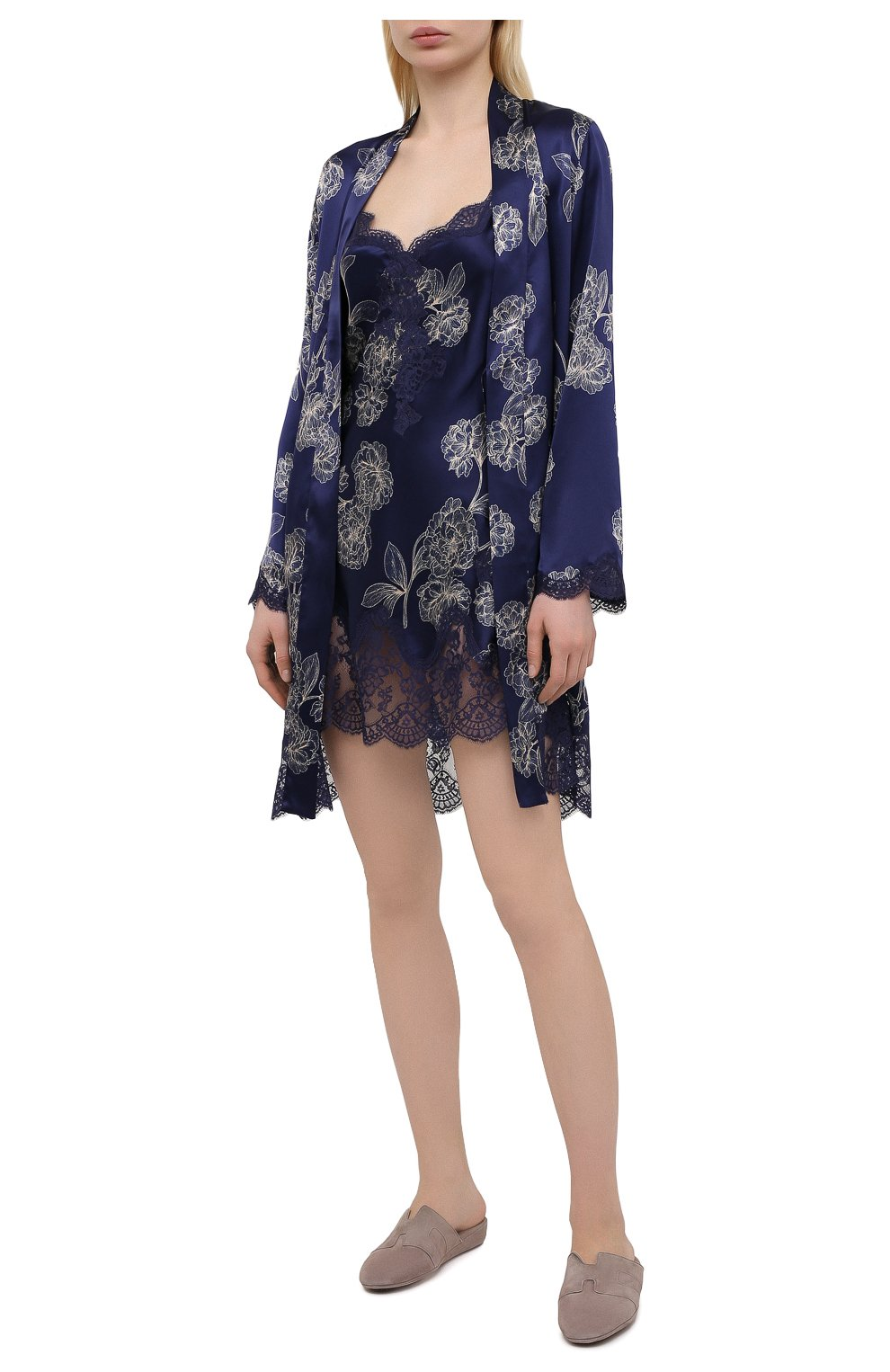 Женская шелковая сорочка AUBADE темно-синего цвета, арт. QS40-1 | Фото 2
