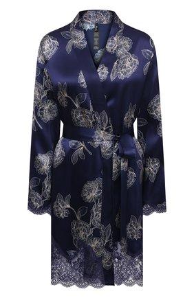 Женский шелковый халат AUBADE темно-синего цвета, арт. QS65-1 | Фото 1