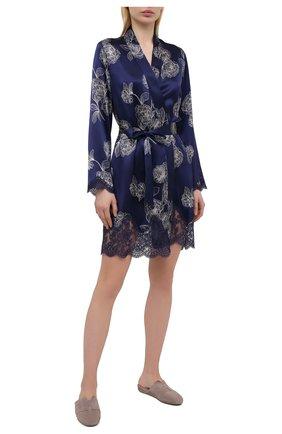 Женский шелковый халат AUBADE темно-синего цвета, арт. QS65-1 | Фото 2